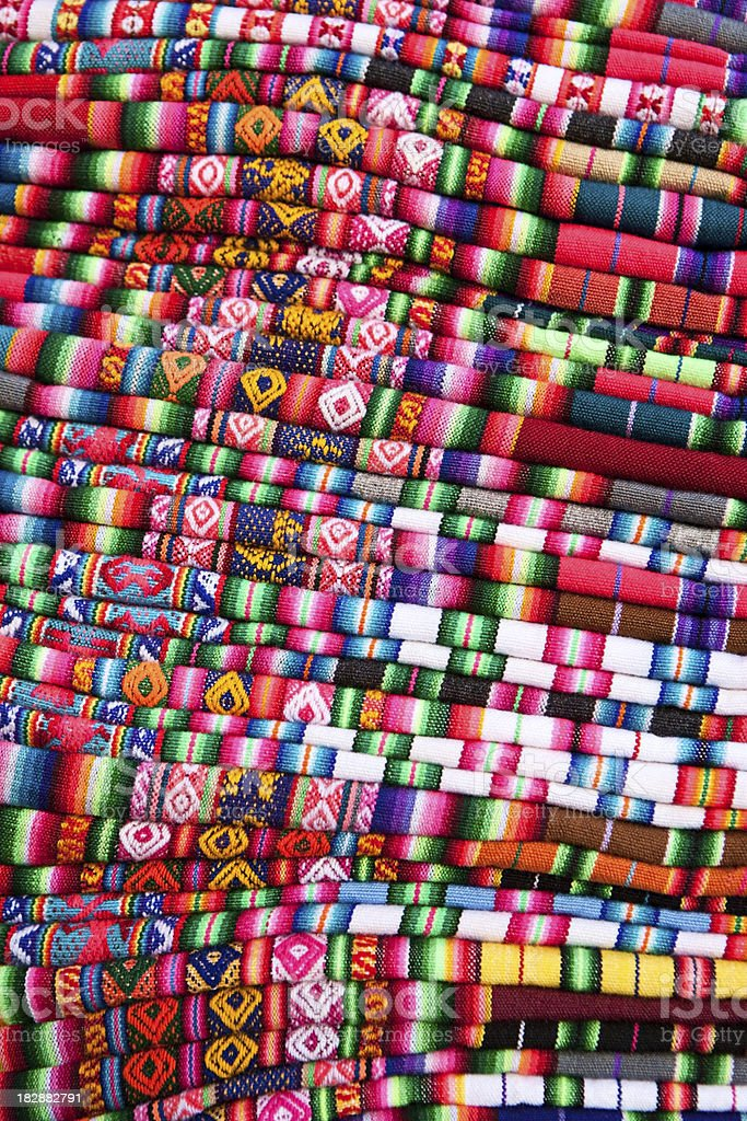 Colorful Bolivian fabrics and clothes for sale, Copacabana, Bolivia royalty-free stock photo