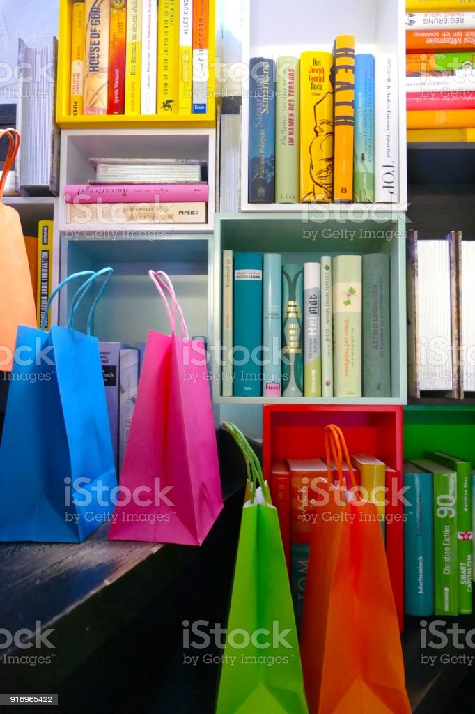 Colorful Book Shelves And Shopping Bags Stock Photo & More Pictures ...