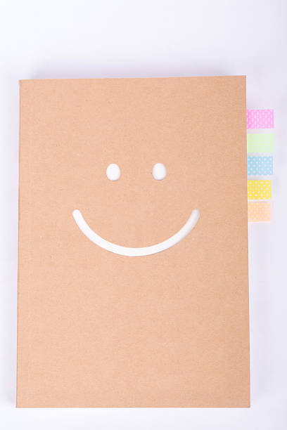 colorful bookmarks in a notebook stock photo