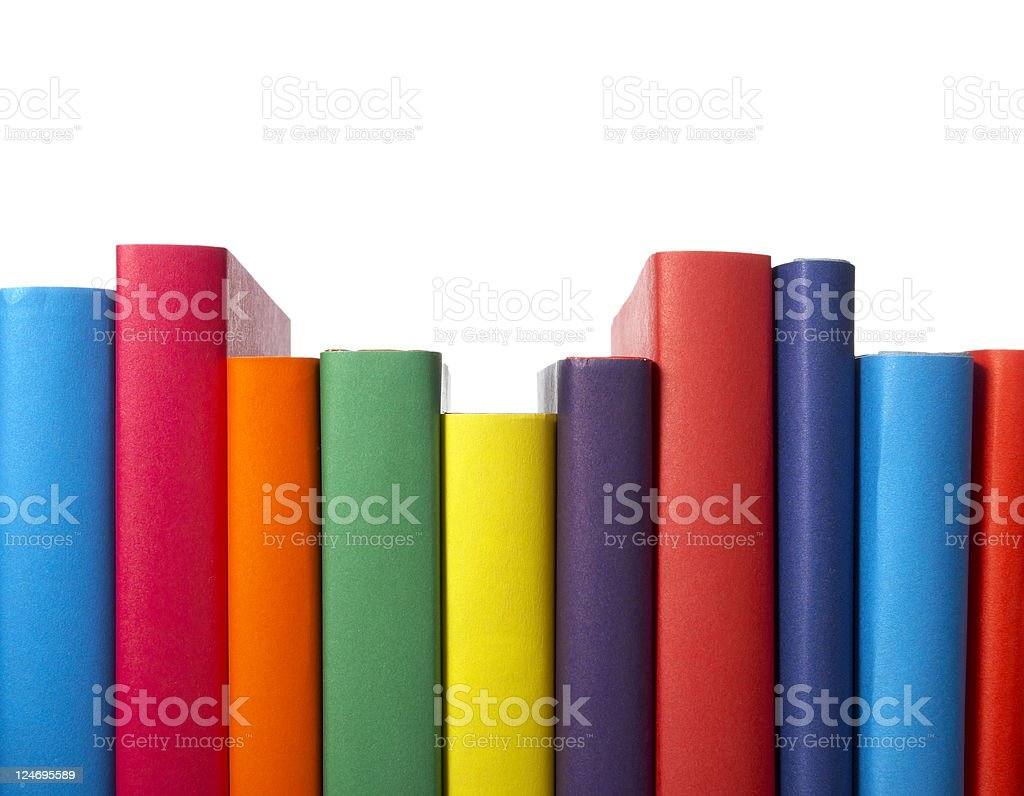 Bunte Bücher gestapelt Bildung - Lizenzfrei Bibliothek Stock-Foto