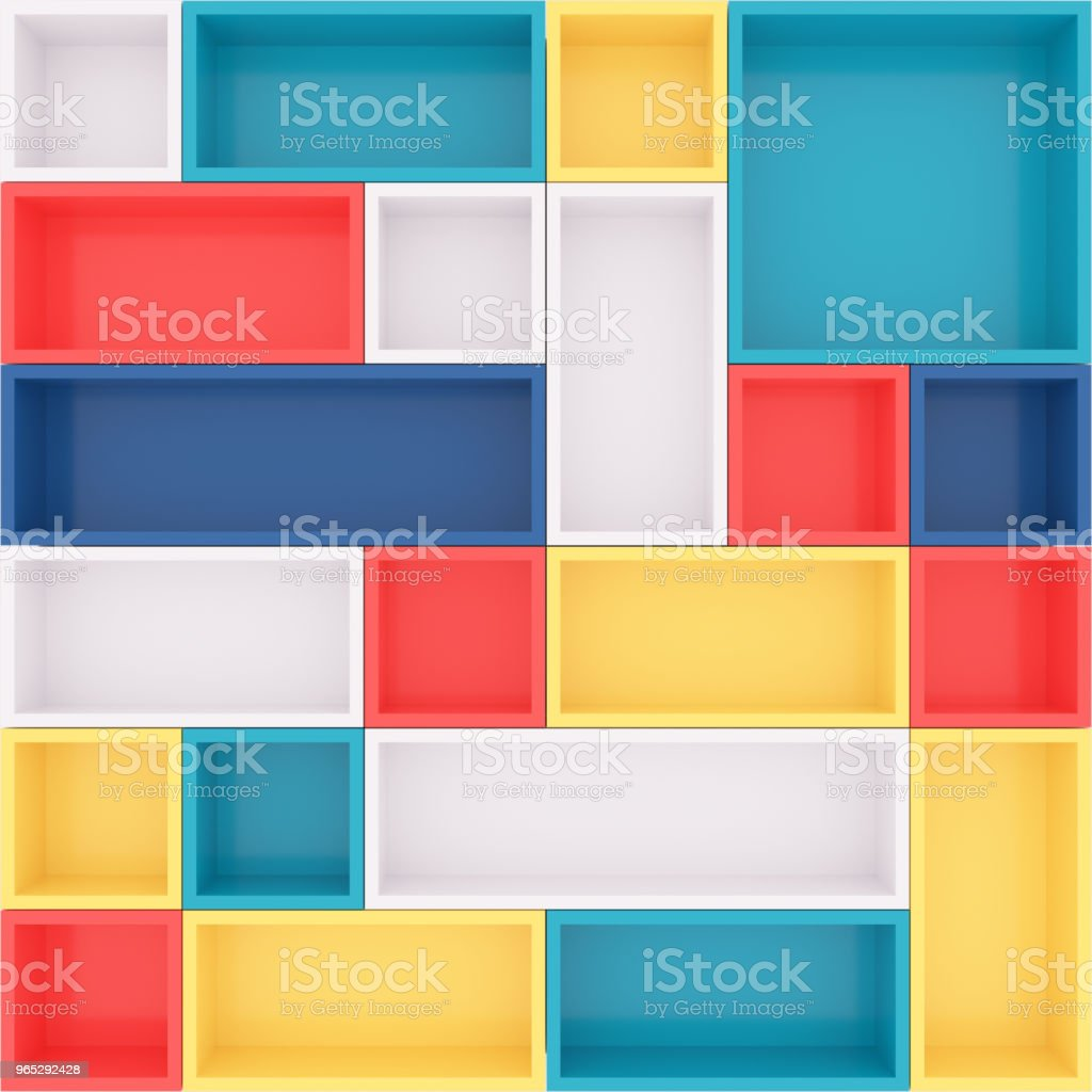 Colorful bookshelf. 3D rendering. zbiór zdjęć royalty-free