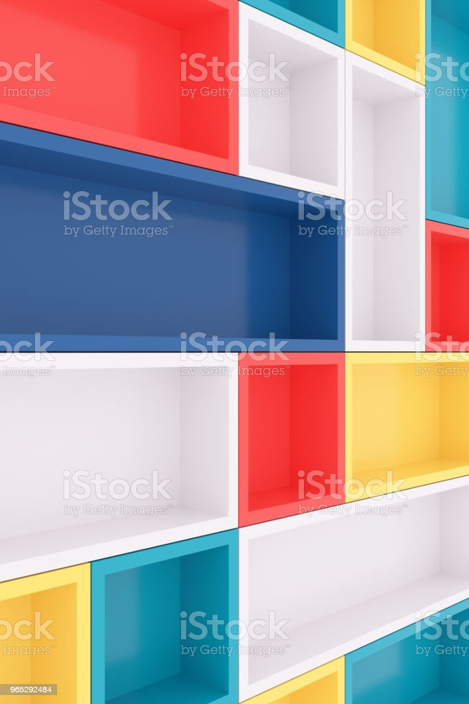 Colorful bookshelf. 3D rendering. royalty-free stock photo