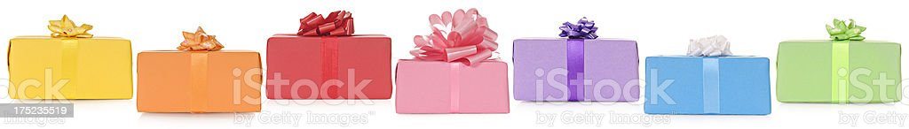 Colorful border of presents royalty-free stock photo
