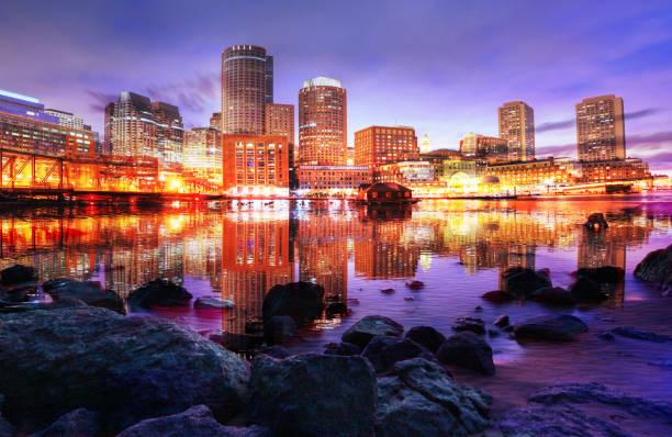 Bunte Boston City bei Sonnenuntergang Foto Montage – Foto
