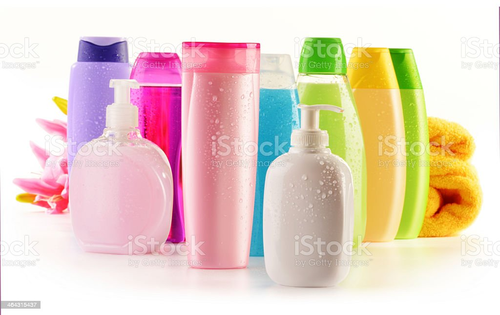 Colorful bottles of body wash lotion shampoo and hand soap stock photo
