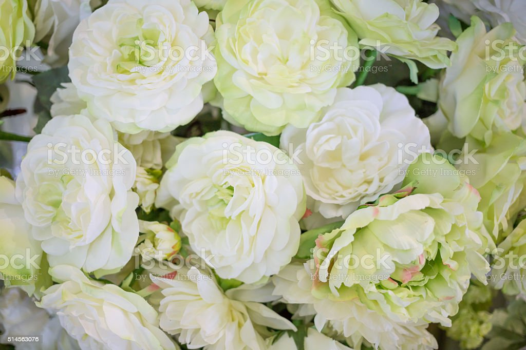 Colorful bouquet of artificial flowers with Peony stock photo