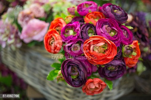 Colorful bouquet of artificial flowers with different blossoms