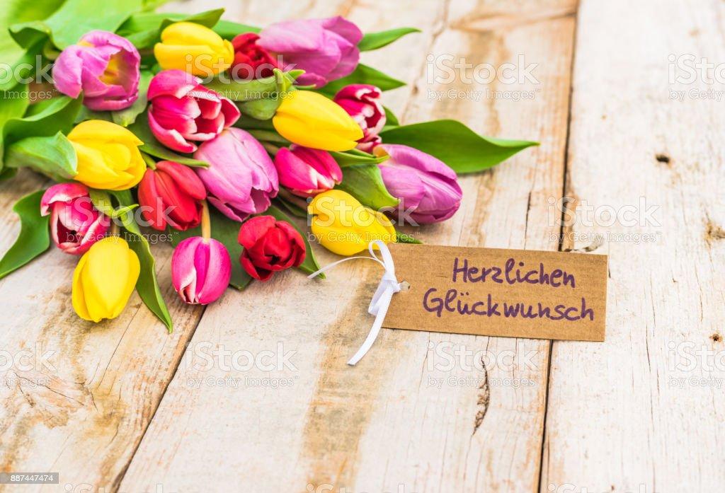 Bunter Strauß Von Blumen Und Glückwunsch Karte Stockfoto Und