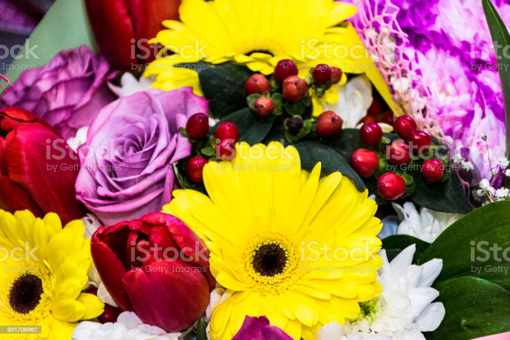 Colorful bouquet of flowers, background stock photo