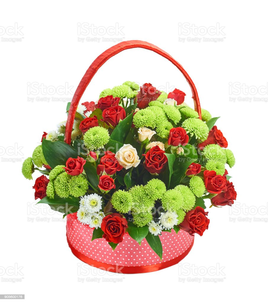 Colorful bouquet of roses in a basket of isolates stock photo more colorful bouquet of roses in a basket of isolates royalty free stock photo izmirmasajfo