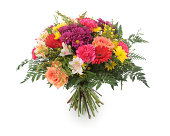 """""""Colorful bouquet made of Alstroemeria, Chrysanthemun, Gerbera, Roses and Goldenrod. Isolated on white."""""""