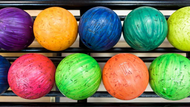 Colorful bowling balls stock photo