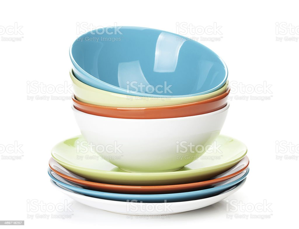 Colorful bowls and plates stock photo