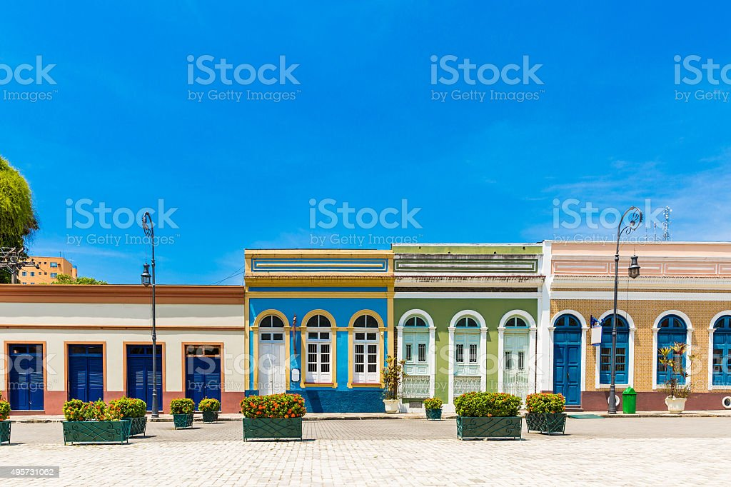 Colorful Brazilian colonial houses stock photo