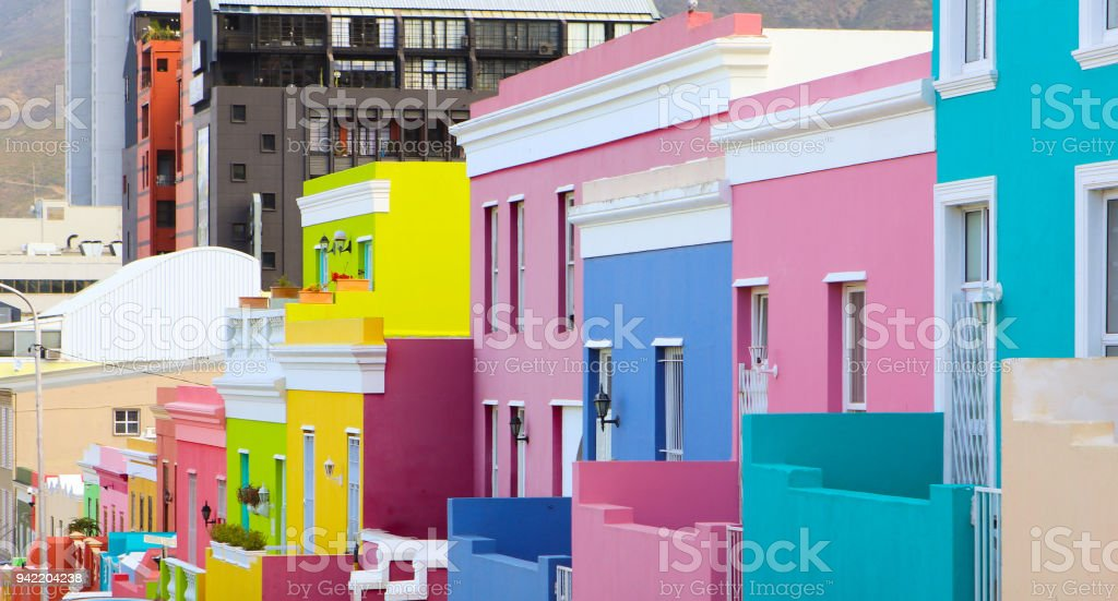 Colorful bright buildings in the historical Bo-Kaap or Malay Quarter district of Cape Town, South Africa stock photo
