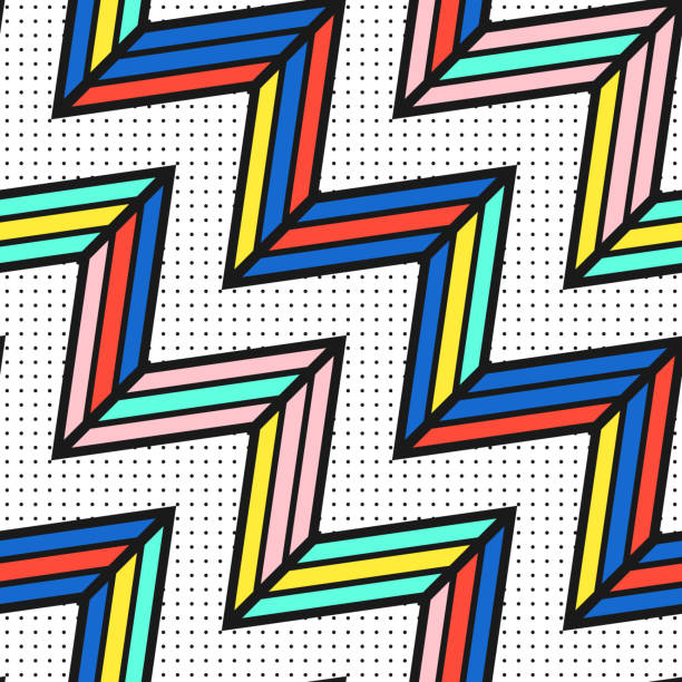 colorful bright seamless pattern - 1980s style stock photos and pictures