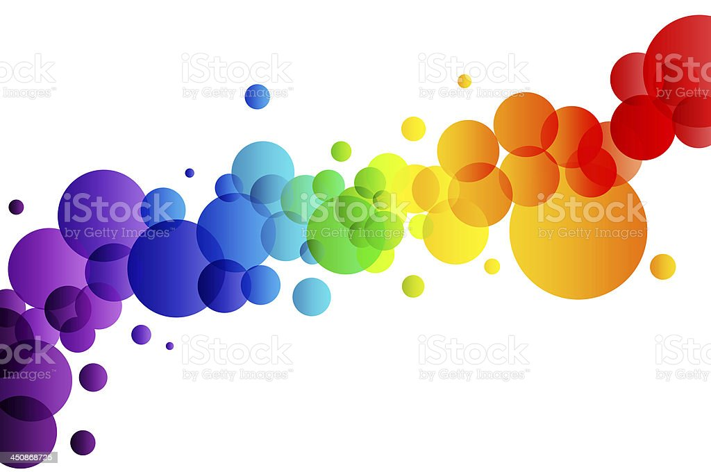 Colorful bubbles on white background stock photo