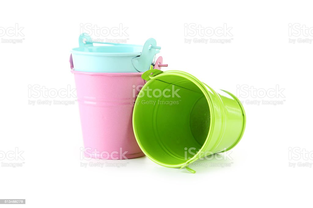 Colorful buckets isolated on white stock photo