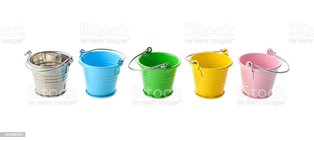 Colorful buckets stock photo