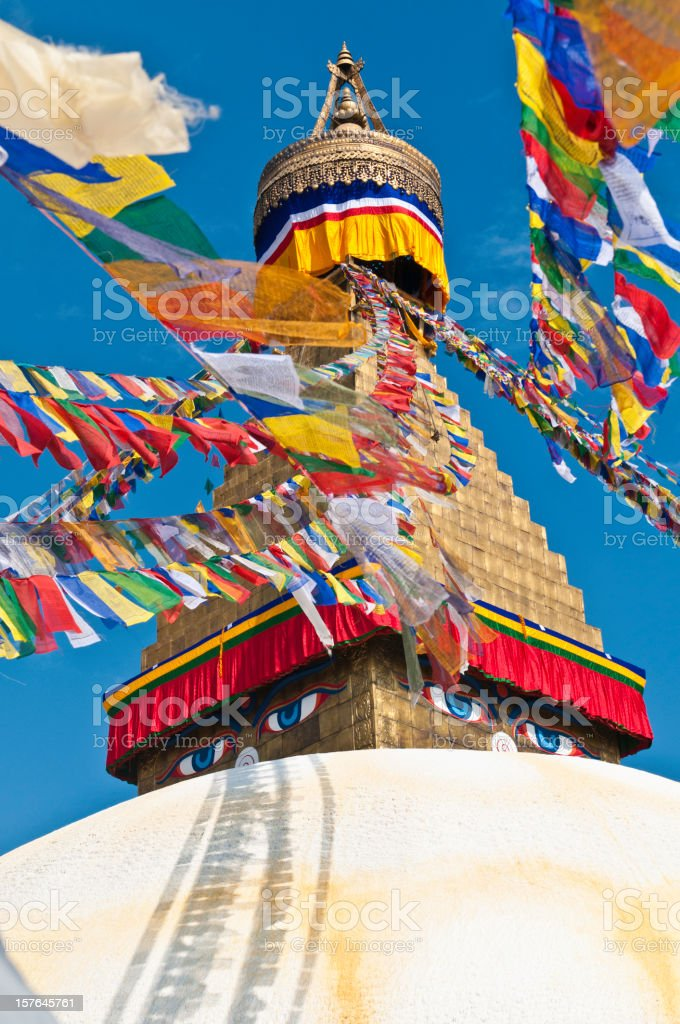 Colorful buddhist prayer flags golden stupa shrine Bodnath Kathmandu Nepal stock photo