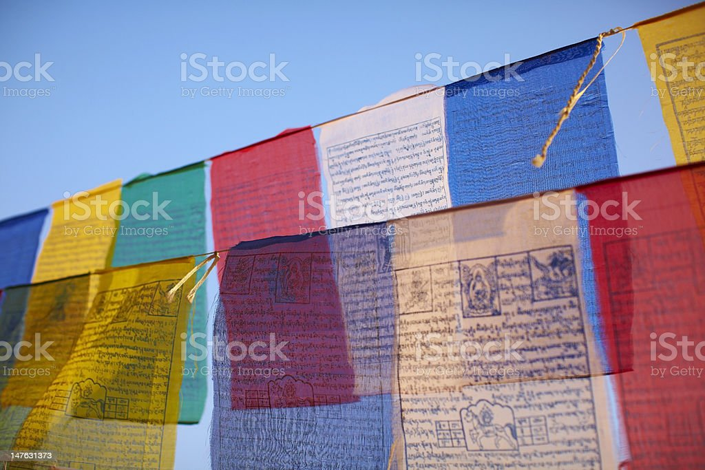 Colorful buddhist prayer flags royalty-free stock photo