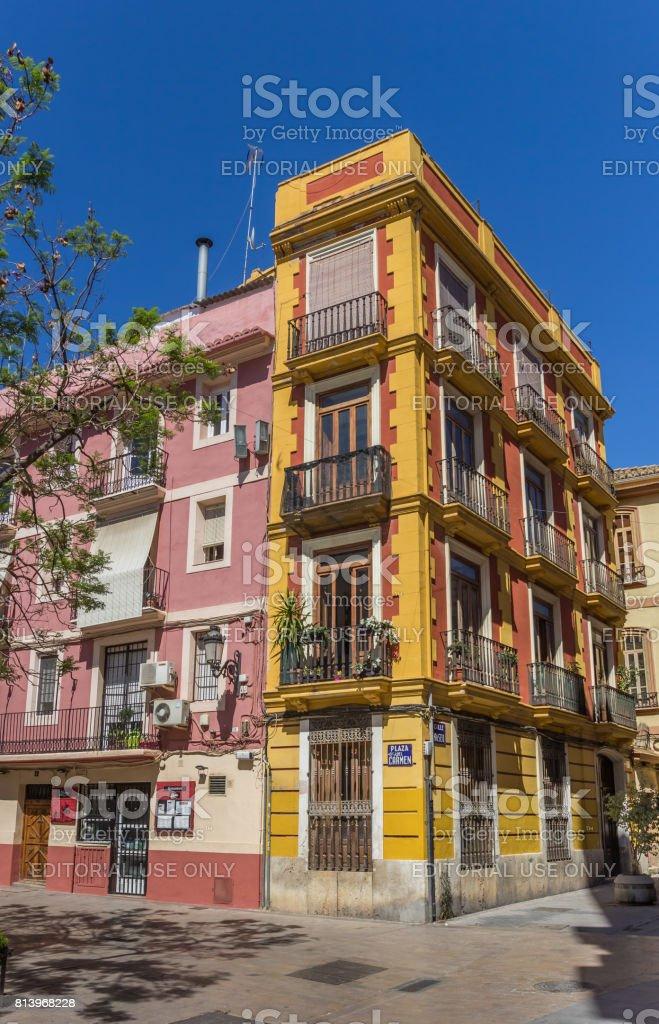 Colorful building at the Plaza del Carmen in Valencia, Spain stock photo