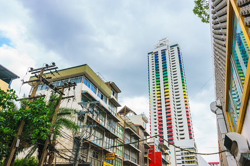 istock Colorful building Baiyoke Tower I with a cloudy background, seen from Rajaprarop Road in Bangkok, Thailand. 692439216