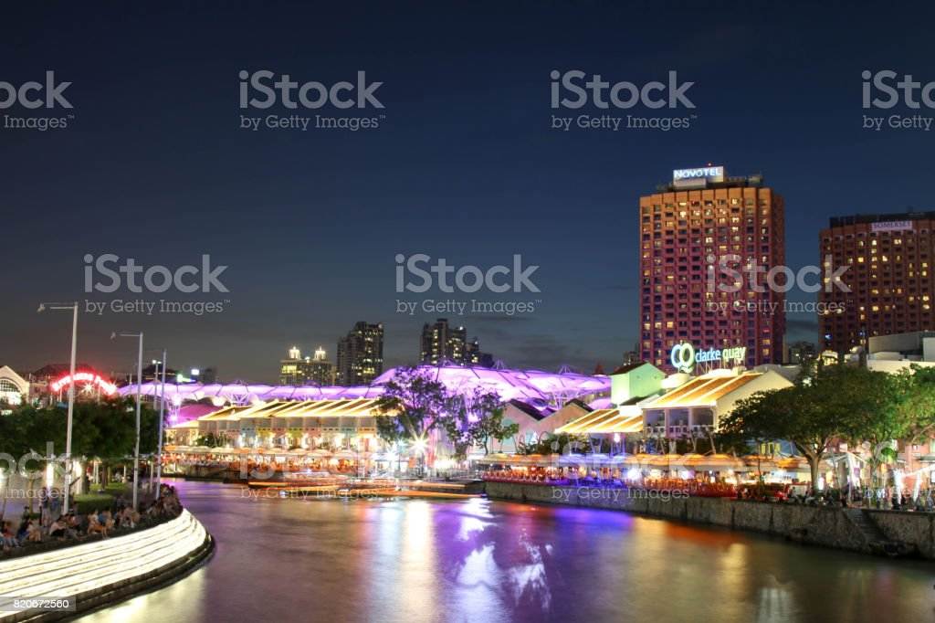 SINGAPORE - JULY 7, 2017 : Colorful building in Clarke Quay. stock photo