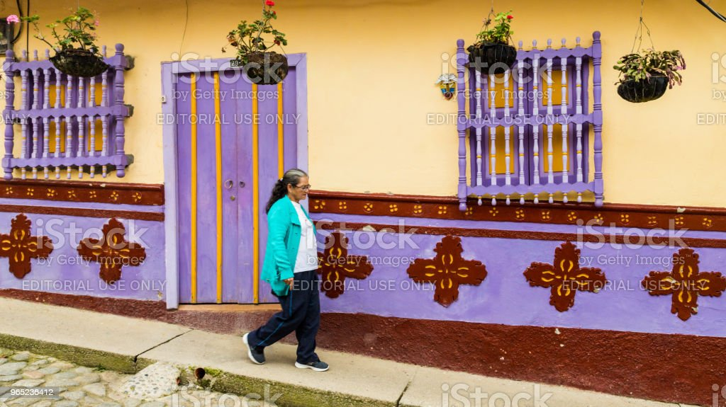 Colorful building, in Guatape, Colombia. royalty-free stock photo