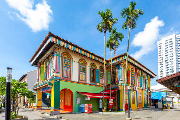Colorful building in Little Indiae. stock photo
