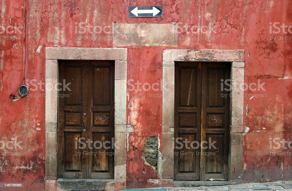 Colorful Building in Oaxaca stock photo