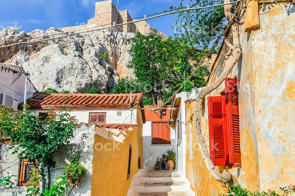 Colorful building in Plaka neighborhood of Athens, Greece stock photo