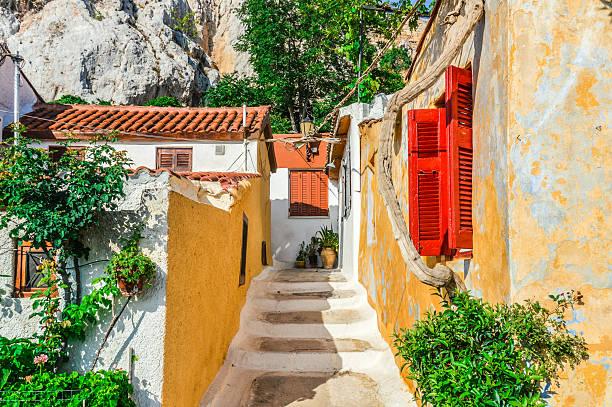 Farbenfrohe Gebäude im Plaka-Viertel von Athen, Griechenland – Foto