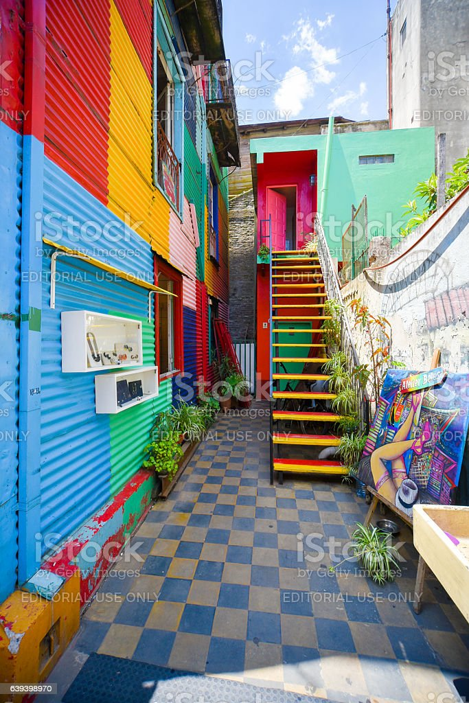 Colorful building of Caminito street stock photo