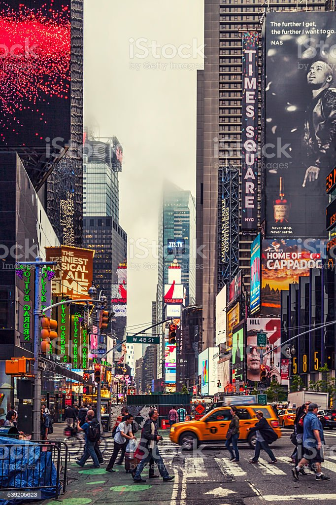 Colorful building signs in Times Square stock photo