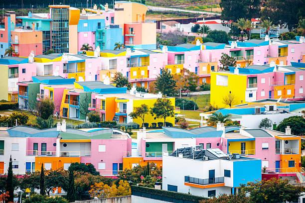 Colorful buildings. Albufeira, Algarve. stock photo