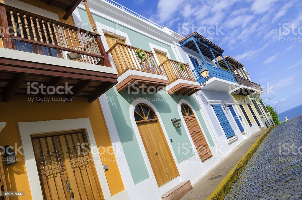 Colorful buildings along street in Old San Juan, Puerto Rico stock photo