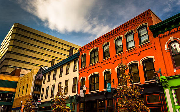 Colorful buildings and shops in Harrisburg, Pennsylvania. stock photo