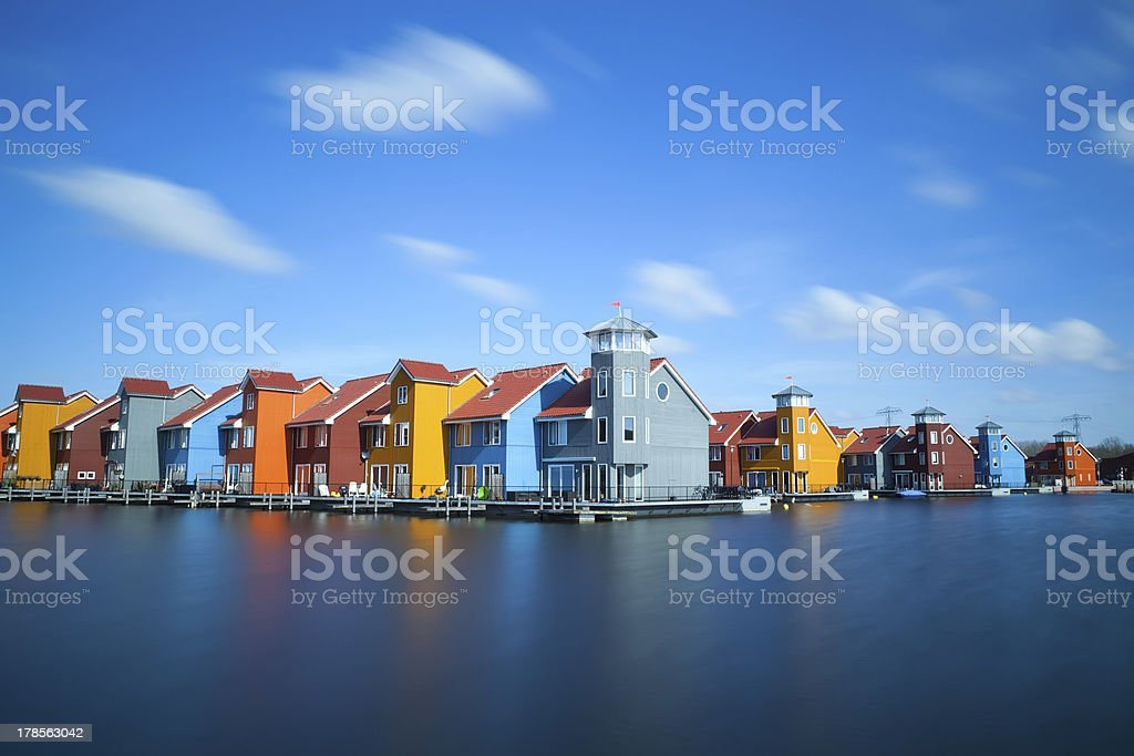 colorful buildings at Reitdiephaven, Groningen stock photo