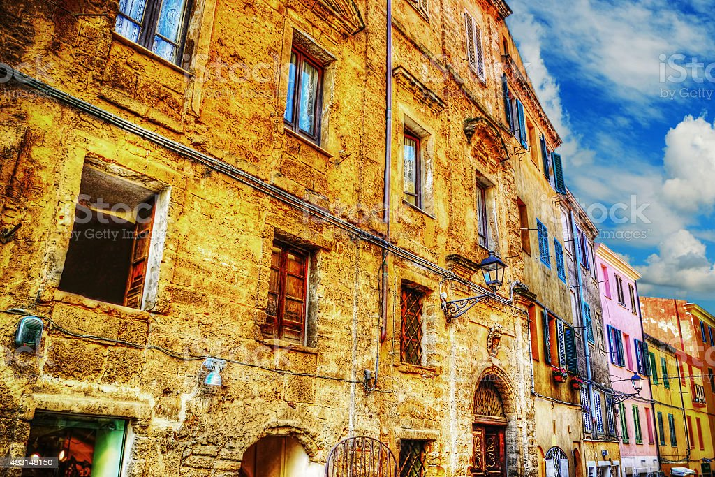 colorful buildings in Alghero downtown stock photo