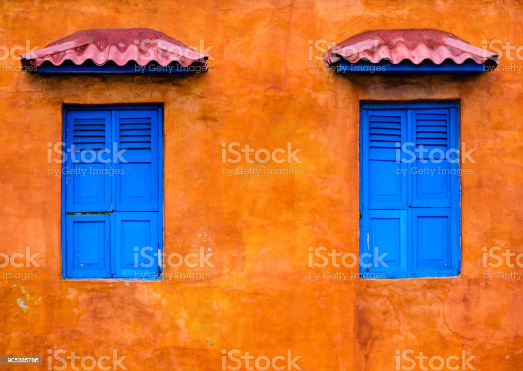 Colorful buildings in Cartagena stock photo