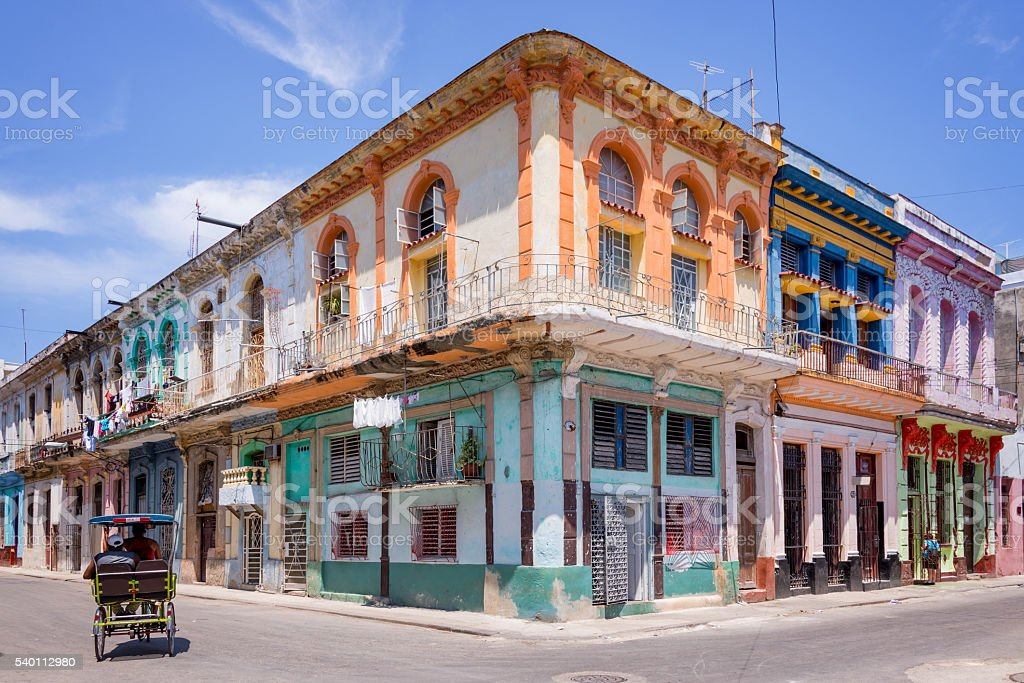Colorful buildings in Havana, Cuba stock photo