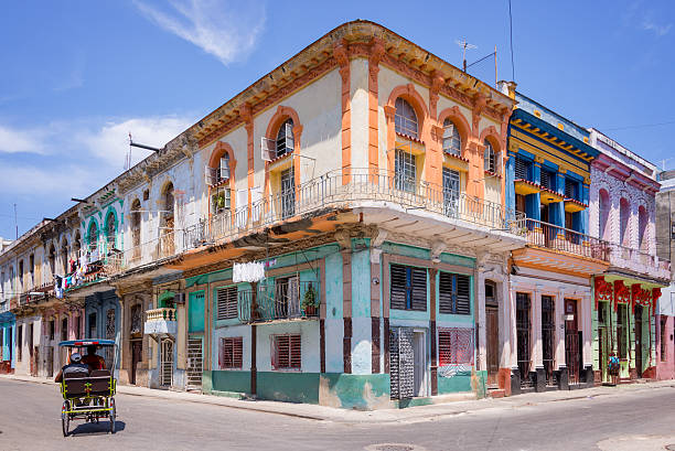 Colorful buildings in Havana, Cuba stock photo