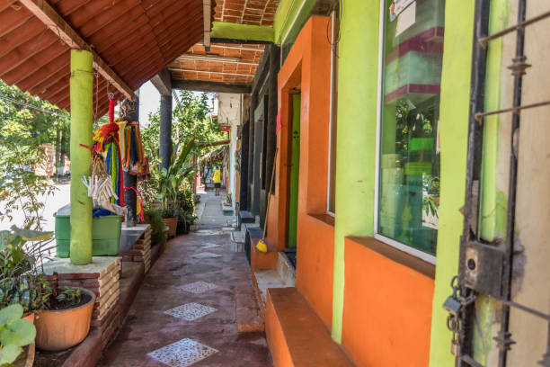 colorful buildings in Mexico stock photo
