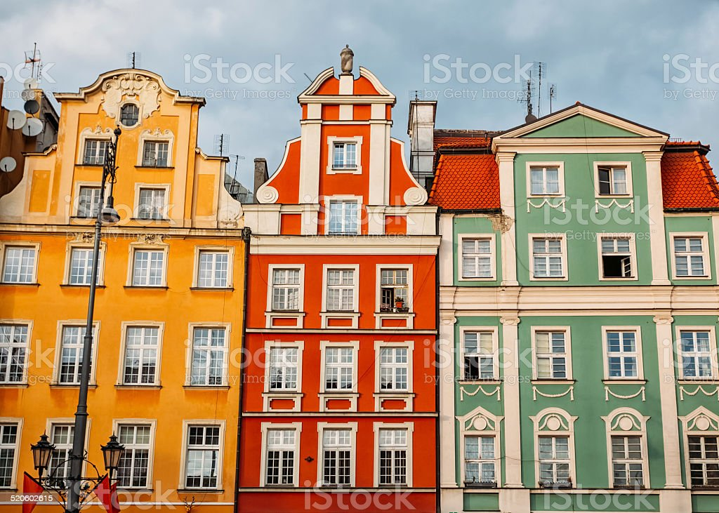 Colorful buildings in Poland stock photo