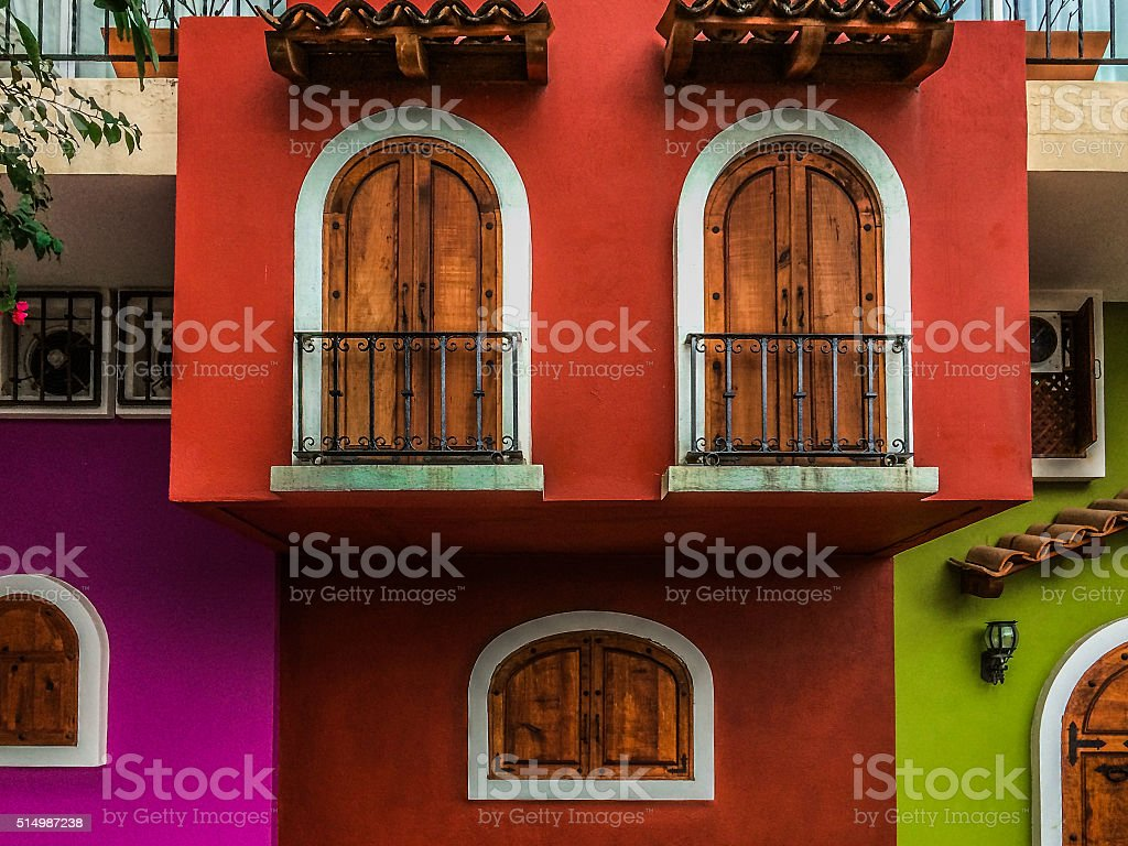 Colorful buildings in Puerto Vallarta, Mexico stock photo