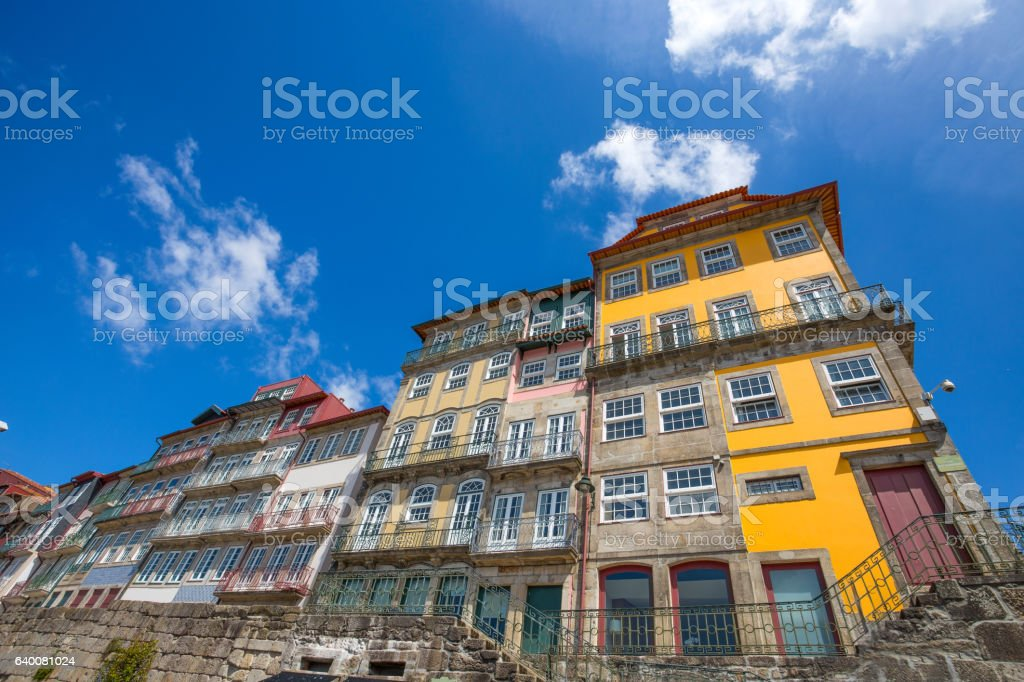 Colorful buildings in Ribeira, the old town of Porto, Portugal stock photo