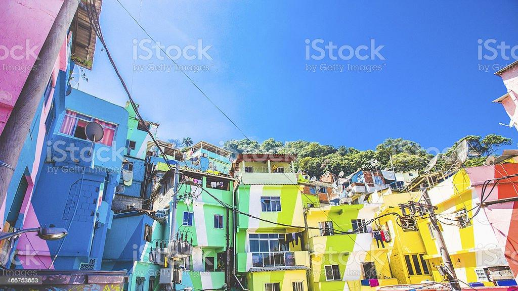 Colorful buildings in Santa Marta Faevela in Rio stock photo