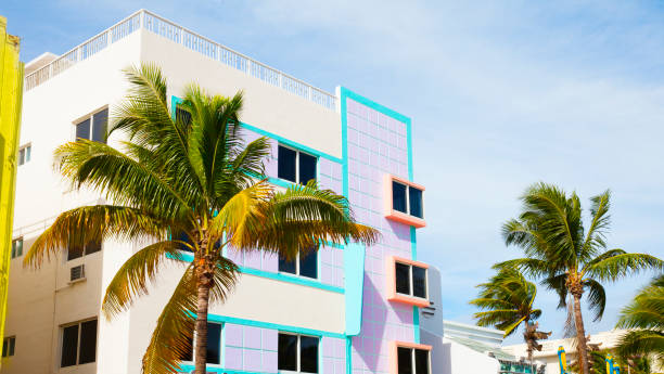Colorful buildings in South Miami Beach stock photo