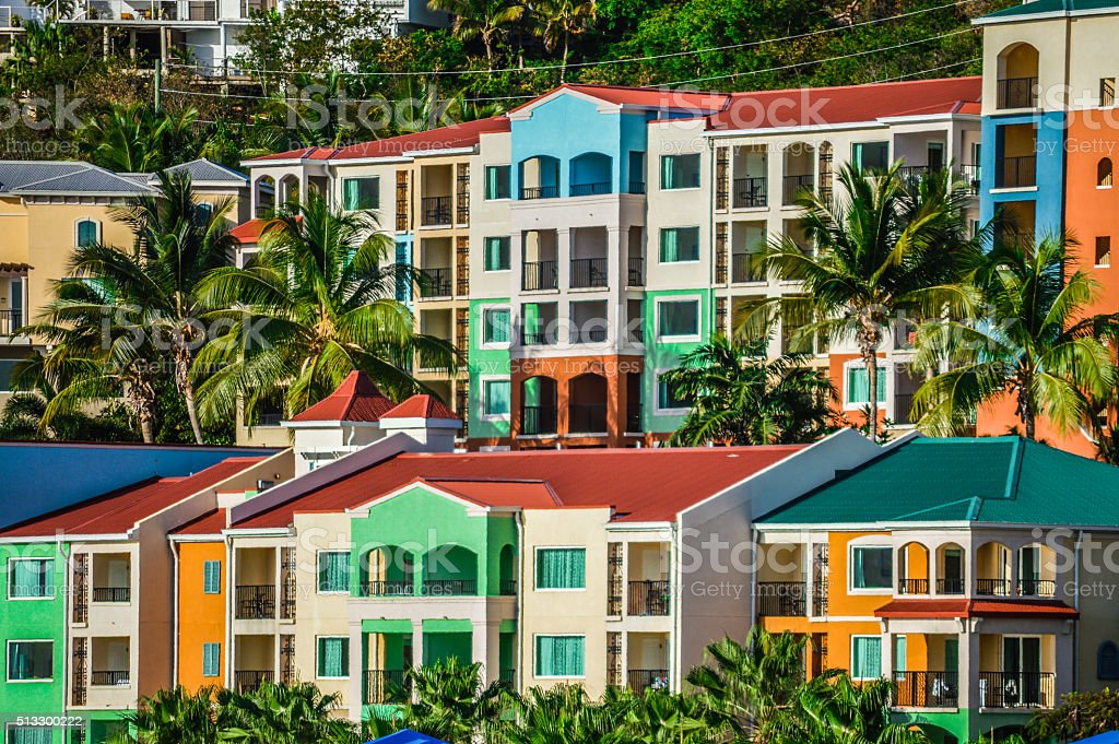 Colorful buildings in the Virgin Islands stock photo